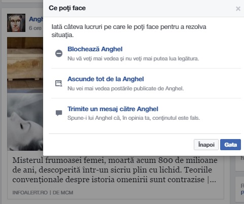 raport facebook stire falsa