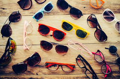 many-sunglasses-fashion-eyeglasses-wood